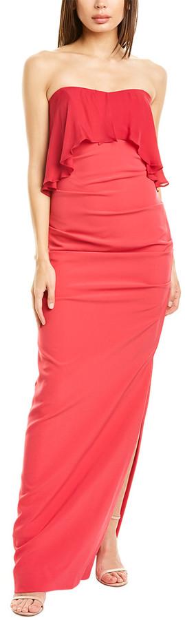 Nicole Miller Silk-Trim Gown