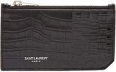 Saint Laurent Fragments crocodile-effect leather cardholder