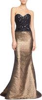 Carolina Herrera Beaded Sweetheart Tweed Gown, Black/Gold
