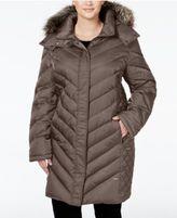 Kenneth Cole Plus Size Faux-Fur-Trim Quilted Down Coat