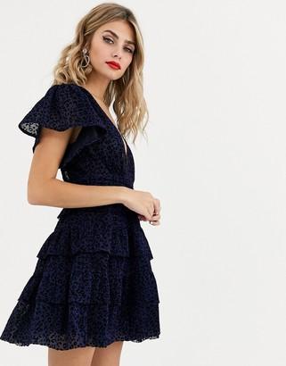 Skylar Rose skater dress with tiered skirt and flutter sleeves