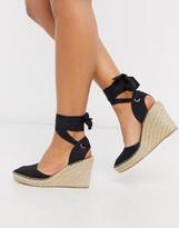Asos Design DESIGN Time tie leg espadrille wedges in black
