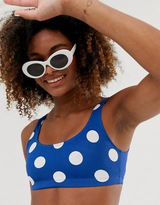 Monki large polka dot scoop neck bikini top in navy
