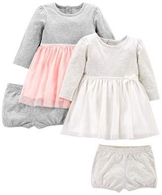 Carter's Simple Joys by Girls' 2-Pack Long-Sleeve Dress Set with Bloomers