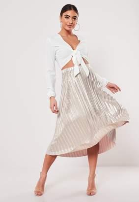 Missguided Rose Metallic Plisse Midi Skirt