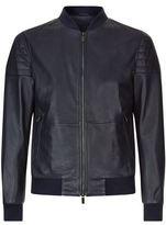 Boss Ribbed Shoulder Leather Bomber Jacket