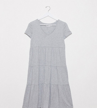 Noisy May Petite tiered smock dress in grey