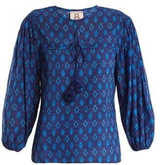 Figue Isadora Ikat-print Cotton-blend Blouse - Blue Multi