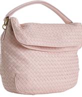 pink woven leather fold-over shoulder bag