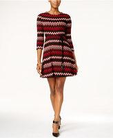 Sandra Darren Petite Chevron-Print Fit & Flare Sweater Dress