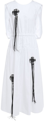 Tibi Zip-detailed Appliqued Cotton-poplin Midi Dress