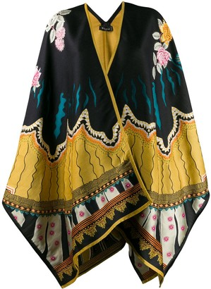 Etro Knitted Floral Pattern Cape