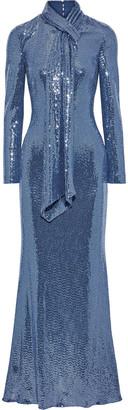 Badgley Mischka Tie-neck Sequined Metallic Stretch-jersey Gown