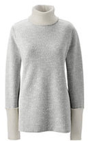 Classic Women's Petite Starfish Slouchy Turtleneck-Taupe Tan Heather