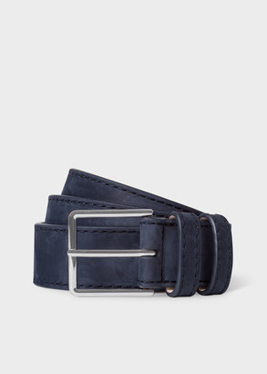 Paul Smith Men's Navy Nubuck Leather Belt With Silver Buckle