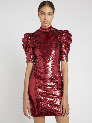 Alice + Olivia Brenna Sequin Puff Sleeve Dress