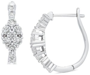 Wrapped in Love Diamond Marquise Cluster Hoop Earrings (1 ct. t.w.) in 14k White Gold, Created for Macy's