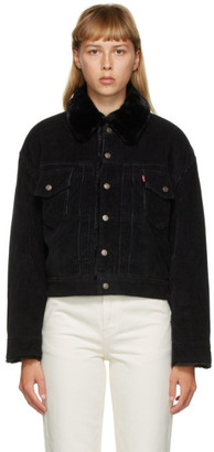 Levi's Levis Black Corduroy and Faux-Fur Heritage Trucker Jacket