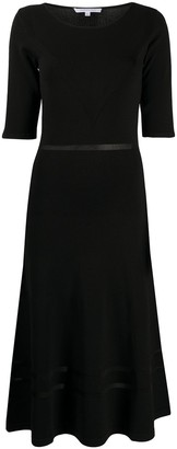 Patrizia Pepe Short-Sleeve Flared Midi Dress