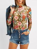 Charlotte Russe Flocked Floral Mock Neck Bodysuit