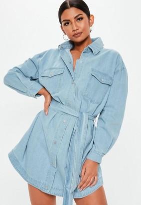 Missguided Light Wash Contrast Stitch Belted Denim Dress