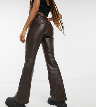 Collusion faux leather 90s fit flared pants in brown