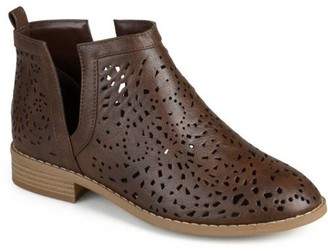 Brinley Co. Women's Stacked Heel Laser Cut Faux Leather Booties