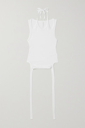 Dion Lee Cropped Tie-detailed Cotton-blend Jersey Tank - White