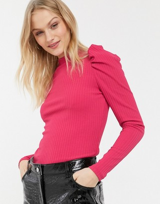 Monki jersey long sleeve top with ruched sleeves in pink