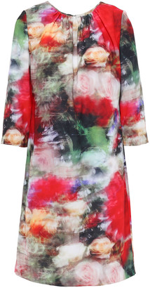 Adam Lippes Gathered Floral-print Crepe Mini Dress