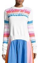 Peter Pilotto Striped-Trim Crewneck Sweater, White/Multi