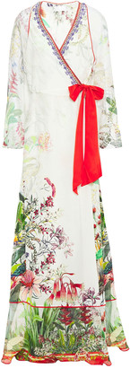 Camilla Chiffon-paneled Crystal-embellished Floral-print Silk Crepe De Chine Maxi Wrap Dress