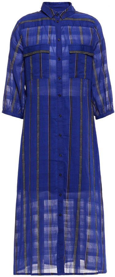 Thumbnail for your product : BA&SH Kinda Printed Cotton-jacquard Midi Shirt Dress