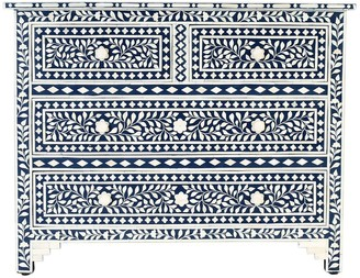 Empress Homewares Sarayu Bone Inlay Florentine 4 Drawer Chest Indigo