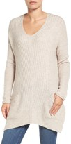 Caslon Long Shark Bite Hem Sweater (Regular & Petite)