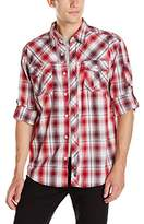 Southpole Men's Long Woven with Large Plaid Patterns and Roll up Sleeves
