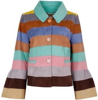 Zut London Suede Leather Short Striped Jacket - Pastel Colour Wave