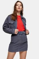 Topshop Blue Corduroy Zip Fitted Jacket