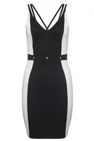 Quiz Cream And Black Eyelet Waistband Bodycon Dress