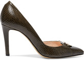 Jerome Dreyfuss Pinpin embellished snake-effect leather pumps