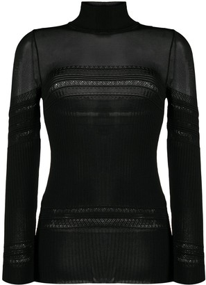 Paco Rabanne Sheer Panel Fitted Jumper