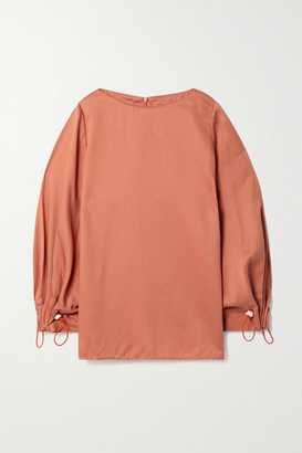 Mother of Pearl Pixie Faux Pearl-embellished Lyocell-twill Top - Orange