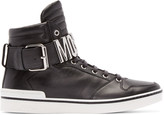 Moschino Black Leather Logo High-Top Sneakers