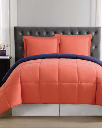 Truly Soft Everyday Orange & Navy Reversible Comforter Set