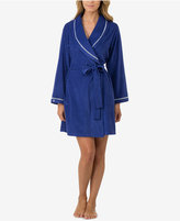 Eileen West Contrast-Trimmed Terry Wrap Robe