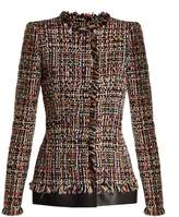 Alexander McQueen Frayed-edge collarless tweed jacket