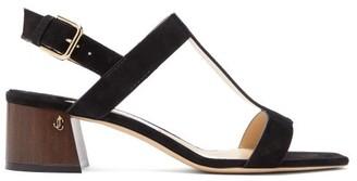 Jimmy Choo Jin 45 Square-toe Suede Sandals - Womens - Black