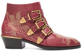 Chloé Susanna Leather Studded Booties in Red.