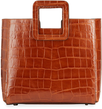 STAUD Shirley Crocodile-Embossed Tote Bag