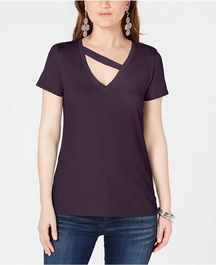 INC International Concepts I.n.c. Cutout V-Neck T-Shirt